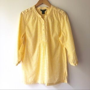 Eddie Bauer Yellow & White Button Down Tunic L